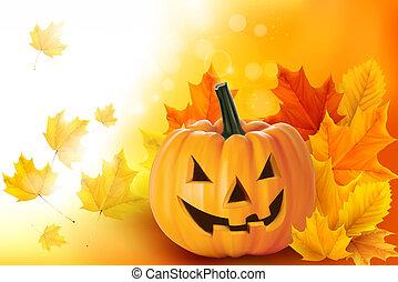 skrämmande, halloween, pumpa, med, bladen, vektor