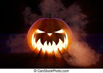 skrämmande, halloween, pumpa