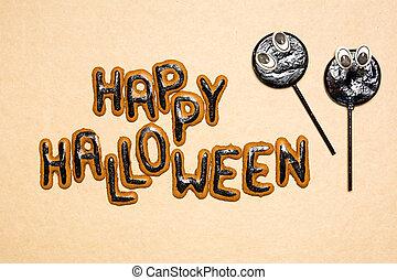 skrämmande, halloween, sötsaker, bakgrund, dag