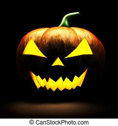 skrämmande, halloween, svart fond, 3, pumpa