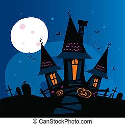 skrämmande, hemsökt hus