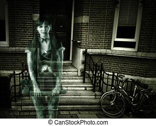 skrämmande, kvinna, spöke, på, hus portal