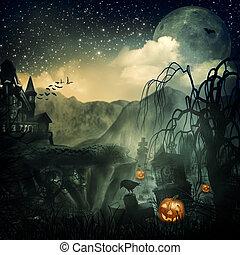 skrämmande, movie., abstrakt, halloween, bakgrunder, design,...