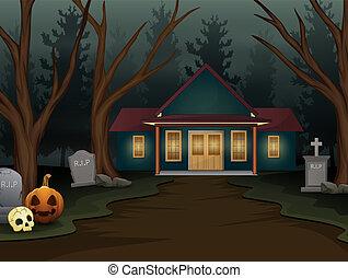 skrämmande, natt, halloween, bakgrund, hus