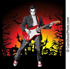 skrämmande, punkrock, halloween, gitarr, vektor, man