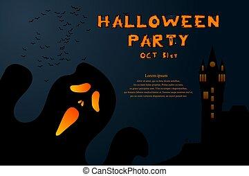skrämmande, slagträ, bakgrund, banner., affisch, halloween, pumpkin., design, vector., parti, eller, slott