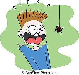 skrämmande, spindel