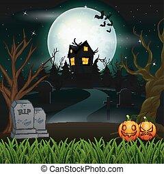 skrämmande, utsålt, halloween, måne, bakgrund