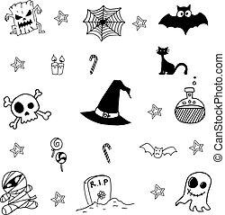 skrämmande, vektor, halloween, klotter