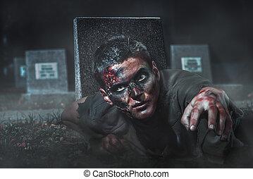 skrämmande, zombie, crawl, ute, av, den, grav