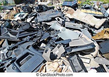 skräp, gammal, bilar, särar, gård, kassera
