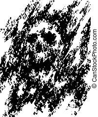 skräp, skrämmande, abstraktion, illustration., kranium, dots...