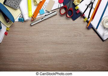 skräpa, skrivbord, ämbete levererar