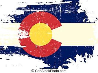 skrapet, flagga, colorado