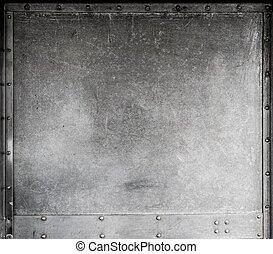 skrapet, metallisk, bakgrund, med, nitar