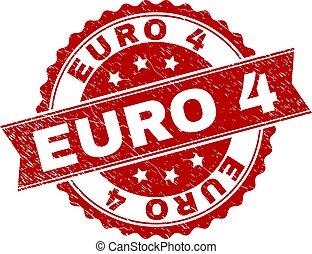 skrapet, stämpel, strukturerad, 4, försegla, euro