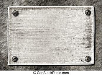 skrapet, tallrik, gammal, metall, struktur, skruvar