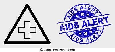 skrapet, triangel, skissera, watermark, läkar oroa, vektor, aids, varning, ikon