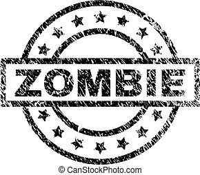 skrapet, zombie, strukturerad, stämpel, försegla