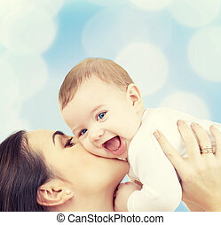 skratta, baby, leka, med, mor