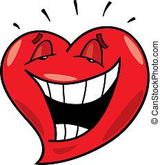 skratta, hjärta