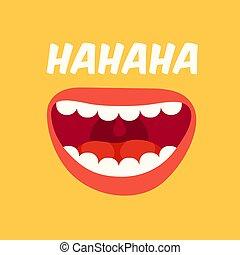 skratta, lol, day., april, vektor, gul fond, fools, mouth., högt, skratta
