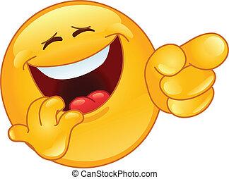 skratta, och, pekande, emoticon