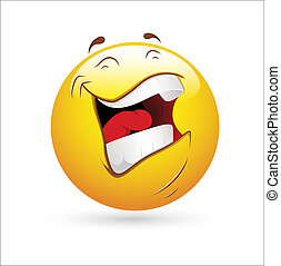 skratta, smiley, ikon, vektor
