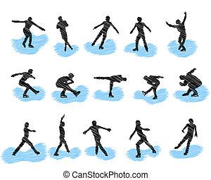 skridskoåkning, silhouettes, sätta, grunge, figur
