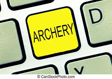 skrift, anteckna, visande, archery., affär, foto, showcasing, sport, skjutning, med, bog, och, pilar, till, a, måltavla, konkurrens