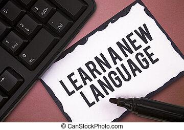 skrift, anteckna, visande, erfara, a, färsk, language., affär, foto, showcasing, studera, ord, annat, än, den, inföding, mor, tunga