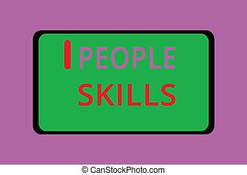 skrift, anteckna, visande, folk, skills., affär, foto,...