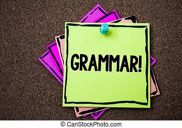 skrift, anteckna, visande, grammatik, motivational, call., affär, foto, showcasing, system, och, struktur, av, a, språk, skrift, härskar, papper, idéer, meddelanden, till gör listor, kork, bakgrund, minns, important.