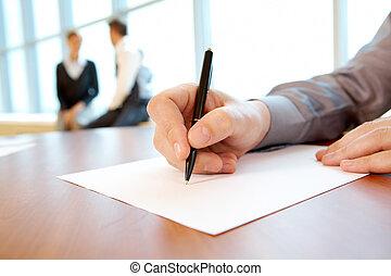 skrift, arbete, plan