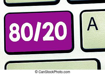 skrift, bemærk, viser, 80, 20., firma, fotografi, showcasing, pareto, grundprincip, i, factor, sparsity, statistisk, distribution, i, data