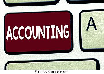 skrift, bemærk, viser, accounting., firma, fotografi, showcasing, proces, arbejde, i, fortsætte, og, analyserer, finansielle, konti
