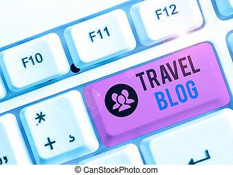 skrift, erfarenheten, world., hand, foto, ställen, begreppsmässig, showcasing, visande, tanken, resa, blog., omkring, affär, delning