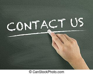 skriftligt, kontakta, ord, oss, hand