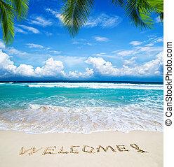 skriftligt, välkommen, strand