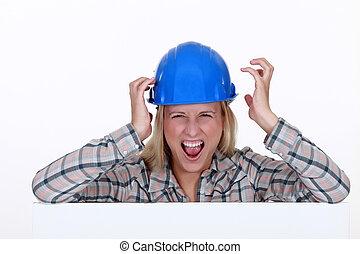 skrika, anläggningsarbetare, kvinnlig