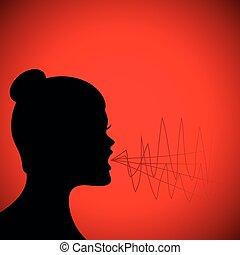 skrika, kvinna, silhuett, röd fond