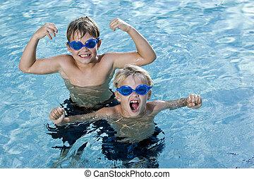 skrikande, simning, bröder, slå samman, leka