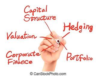 skriv, begreb, korporativ finan, hånd