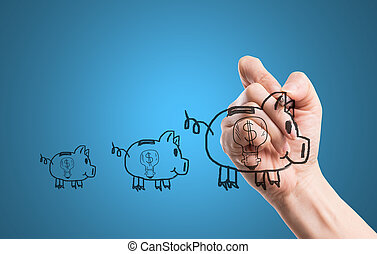 skriv, penge, piggy