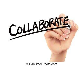 skriv, samarbejd, hånd
