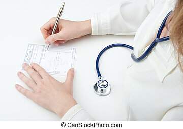skriva, läkare, recept, familj, (recipe)