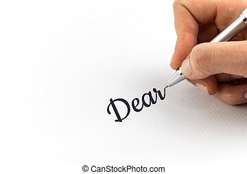 """skriva lämna, """"dear"""", ark, vit, paper."""