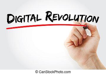skriva lämna, digital, revolution, med, markör