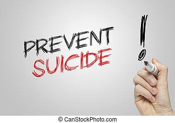 skriva lämna, förhindra, självmord