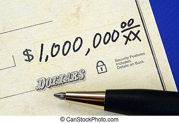 skriva, miljon, dollar, kontroll, en